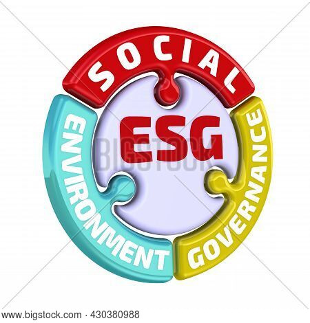 Esg. Environmental Social Governance. The Check Mark In The Form Of A Puzzle. Esg Check Mark Of Envi