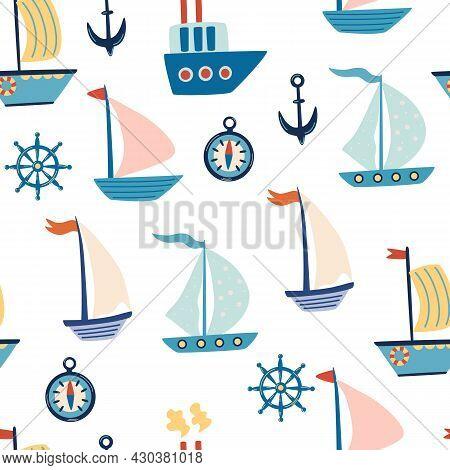 Boats Seamless Pattern. Cartoon Sailboats, Anchor, And Steering Wheel. Marine Life. Marine Pattern F