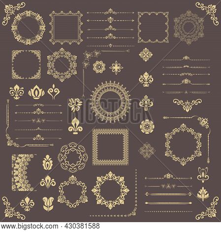Vintage Set Of Vector Horizontal, Square And Round Elements. Golden Elements For Backgrounds, Frames