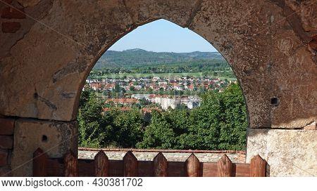 Ruin Of Boskovice Castle In The Czech Republic. View Through Castle Window On The City Boskovice