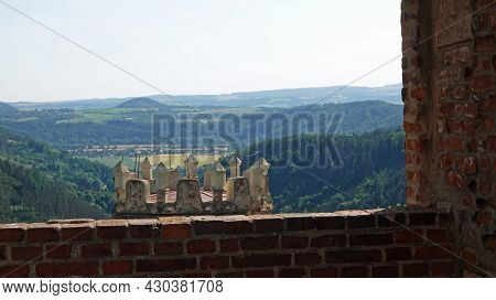 Ruin Of Boskovice Castle In The Czech Republic. View Through The Window On The Castle Tower