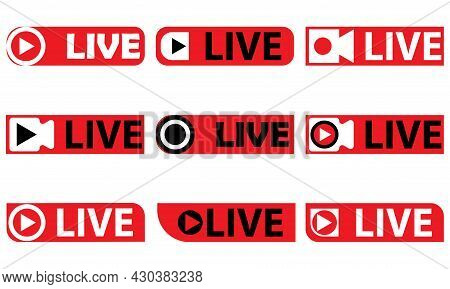 Vector Illustration Of Live Board Writing Icon Set. Great For Live Video Broadcasts, Live Television