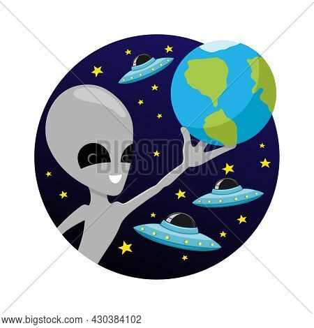 Illustration Of An Extraterrestrial Alien Holding The Planet Earth In His Hand Against The Backgroun