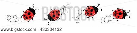 Set Of Cartoon Ladybird Mascot. A Small Ladybugs Flying On A Dotted Route. Vector Characters. Incest