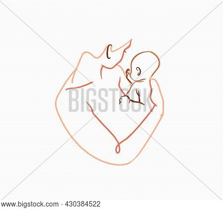 Hand Drawn Vector Abstract Stock Flat Graphic Contemporary Line Art, Aesthetic Fashion Illustration
