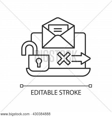 No Transmission Via Email Linear Icon. Unencrypted Email. Preventing Security Breach. Thin Line Cust