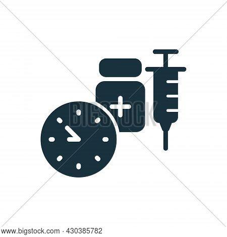 Time To Vaccinate Silhouette Icon. Syringe With Vaccine, Clock. Vaccine For Influenza, Coronavirus.