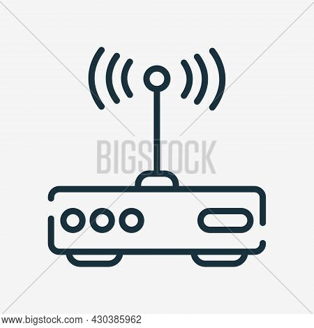 Modem Line Icon. Internet Router Linear Pictogram. Wifi Router Outline Icon. Editable Stroke. Isolat