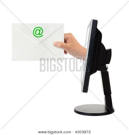 Computer Screen And Hand With Letter