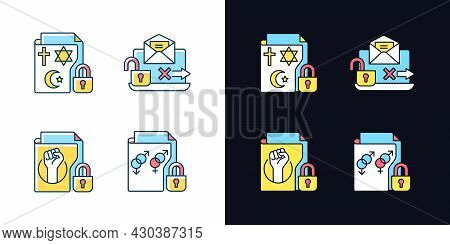 Data Confidentiality Light And Dark Theme Rgb Color Icons Set. Unencrypted Email. Trade Union Member