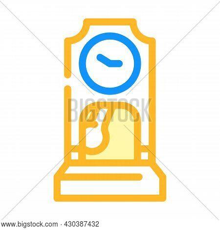 Floor Antique Clock Color Icon Vector. Floor Antique Clock Sign. Isolated Symbol Illustration