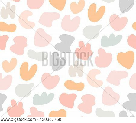 Cute Gentle Childish Seamless Pattern With Colorful Pastel Spot Stans. Sweet Delicate Background, Te