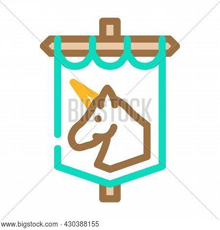 Medieval Flag Fairy Tale Color Icon Vector. Medieval Flag Fairy Tale Sign. Isolated Symbol Illustrat