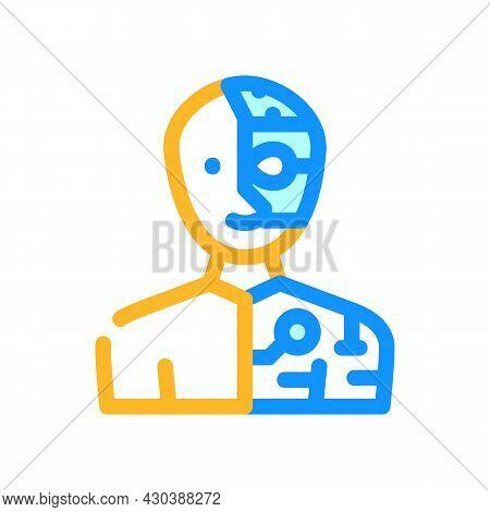 Cyborg Fantasy Character Color Icon Vector. Cyborg Fantasy Character Sign. Isolated Symbol Illustrat