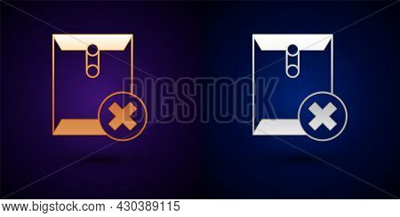 Gold And Silver Delete Envelope Icon Isolated On Black Background. Delete Or Error Letter. Cross On