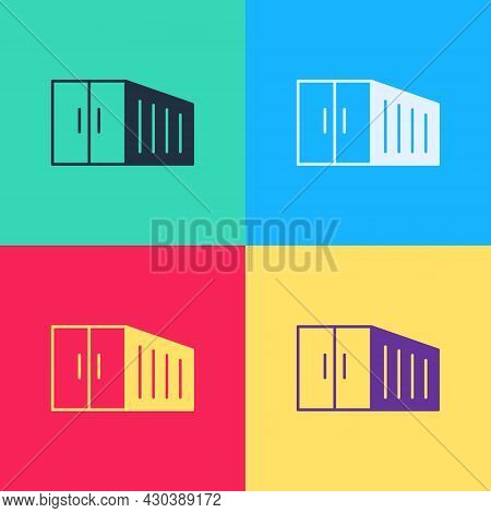 Pop Art Container Icon Isolated On Color Background. Crane Lifts A Container With Cargo. Vector