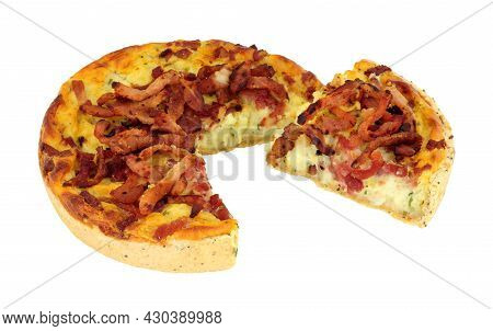Bacon And Cheddar Cheese Quiche Isolated On A White Background