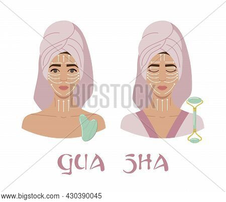 Facial Massage Direction Infographic. Portraits Of Young Women With Opened And Closed Eyes In Towel