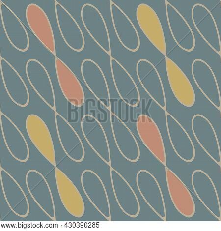 Infinity Symbol Sign Vector Seamless Pattern Background. Blue Backdrop With Diagonal Loops In Weave