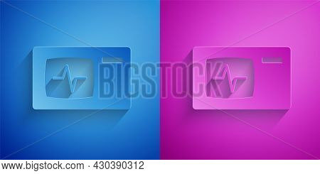 Paper Cut Computer Monitor With Cardiogram Icon Isolated On Blue And Purple Background. Monitoring I