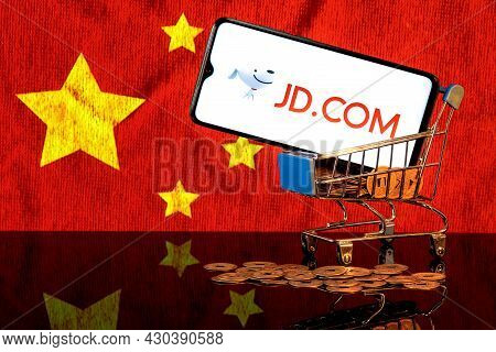Kazan, Russia - August 20, 2021:  Jd.com Is A Chinese E-commerce Company. A Smartphone With The Jd.c