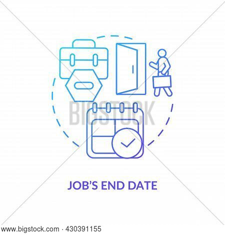 Job End Date Blue Gradient Icon. Resign From Job After Maternity, Parential Leave Abstract Idea Thin