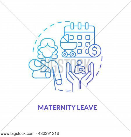 Maternity Leave Blue Gradient Icon . Maternity Rights And Allowance Abstract Idea Thin Line Illustra