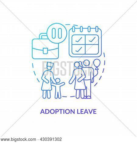 Adoption Leave Blue Gradient Icon. Parental Rights Abstract Idea Thin Line Illustration. Statutory M
