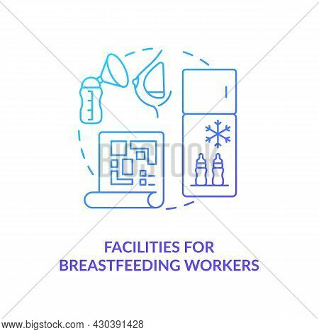 Facilities For Breastfeeding Workers Blue Gradient Icon. Express And Pump Breast Milk Abstract Idea