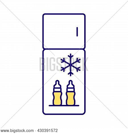 Baby Milk In Fridge Rgb Color Icon. Breast Milk Store In Bottle In Refrigerator. Workplace Facilitie