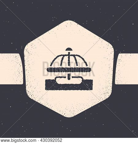 Grunge Attraction Carousel Icon Isolated On Grey Background. Amusement Park. Childrens Entertainment