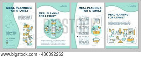 Meal Planning For Family Blue Brochure Template. Flyer, Booklet, Leaflet Print, Cover Design With Li