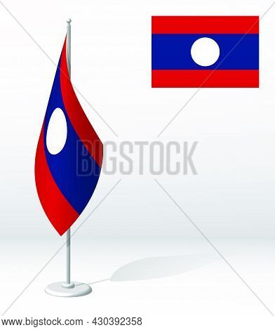 Flag Of Lao People Democratic Republic On Flagpole For Registration Of Solemn Event, Meeting Foreign