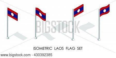 Isometric Flag Of Lao People Democratic Republic In Static Position And In Motion On Flagpole. 3d Ve