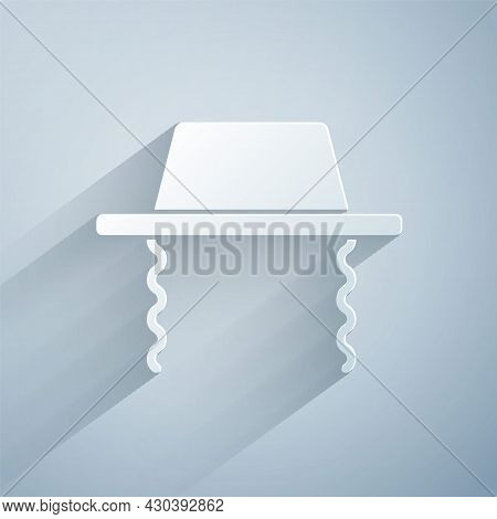 Paper Cut Orthodox Jewish Hat With Sidelocks Icon Isolated On Grey Background. Jewish Men In The Tra