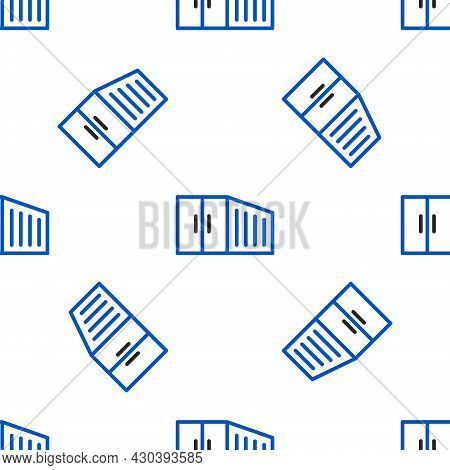 Line Container Icon Isolated Seamless Pattern On White Background. Crane Lifts A Container With Carg