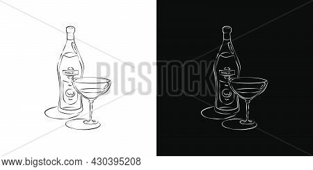 Bottle And Glass Vermouth Together In Hand Drawn Style. Two Kinds Beverage Outline Images. Restauran