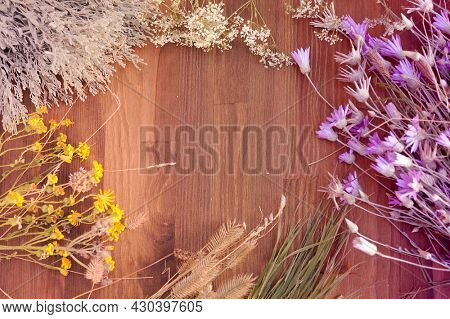 Flowers frame on a wooden background, copy space for text, fresh meadow herbs and flowers top view