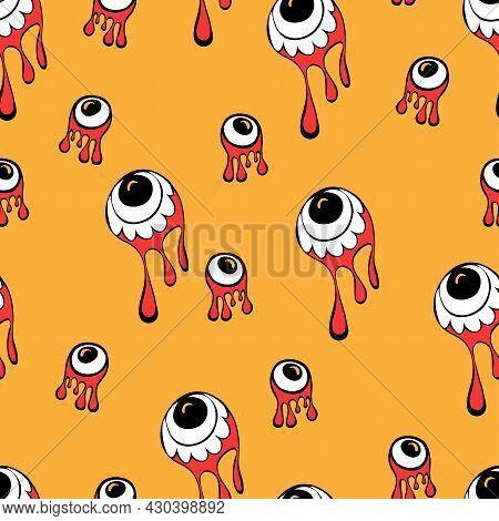 Seamless Pattern With Bloody Zombies Or Alien Eyeballs. Halloween Illustration.