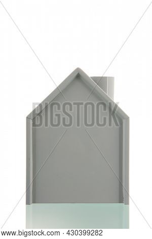 Contour grey house isolated over white background
