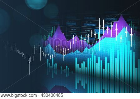 Forex Financial Rising Graph And Chart With Numbers, Candlesticks, Bar Diagrams That Illustrate Inve