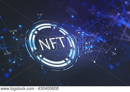 Inclined White Non-fungible Tocken (nft) Icon And Abstract Holographic Lines With Data In Numbers On
