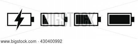 Phone Battery Icons. Mobile Battery In Black. Power Symbol. Accumulator Level. Transparent Icons
