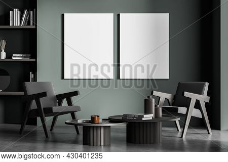 Two Mock-up Banners In The Dark Green Waiting Room Interior With Two Armchairs, Niche Shelves, Concr