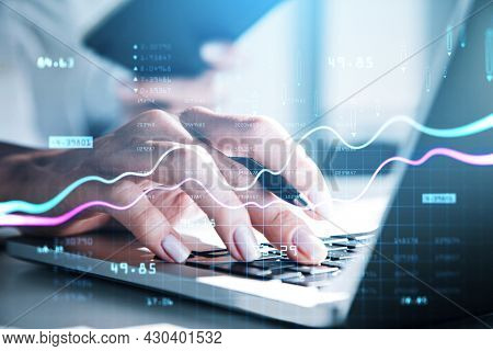 Various Financial Charts Showing Increase Of Price In Stock Market, Digitalization And Internet Trad