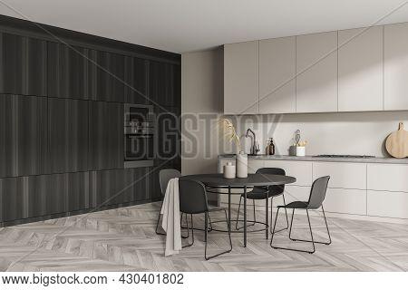 Modern Design, Using Dark Wooden Cabinets For The Area, Having Built In Ovens, Beige Modular Furnitu