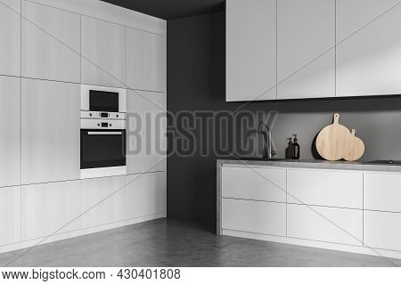 Corner Of The Grey Kitchen Interior With Modern Design, Using Built In Area, Simple Modular Cabinet