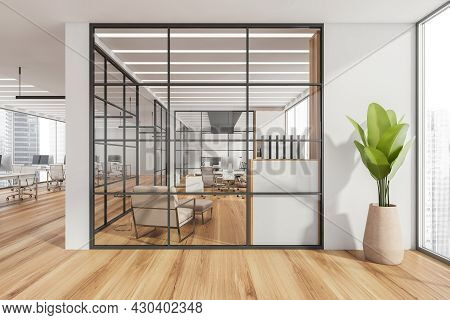 White Panoramic Workspace Interior With Framed Glass Partition Walls Of The Conference Room And Area