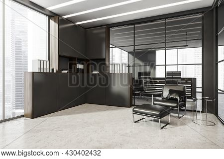 Panoramic Office Interior With Dark Corner Cabinet, Armchair With Ottoman, On Trend Coffee Table, Fr