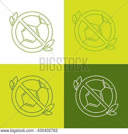 Eco Icons Paraben Free. Green And White Outline Illustration Good For Ecological Movement And Taking